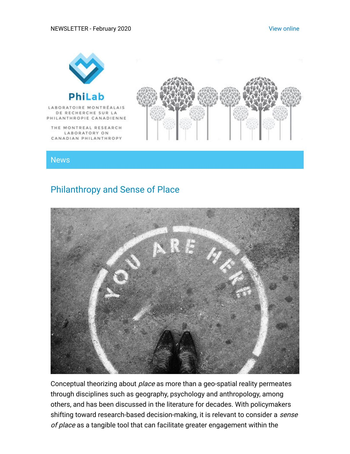 Philanthropy and Sense of Place