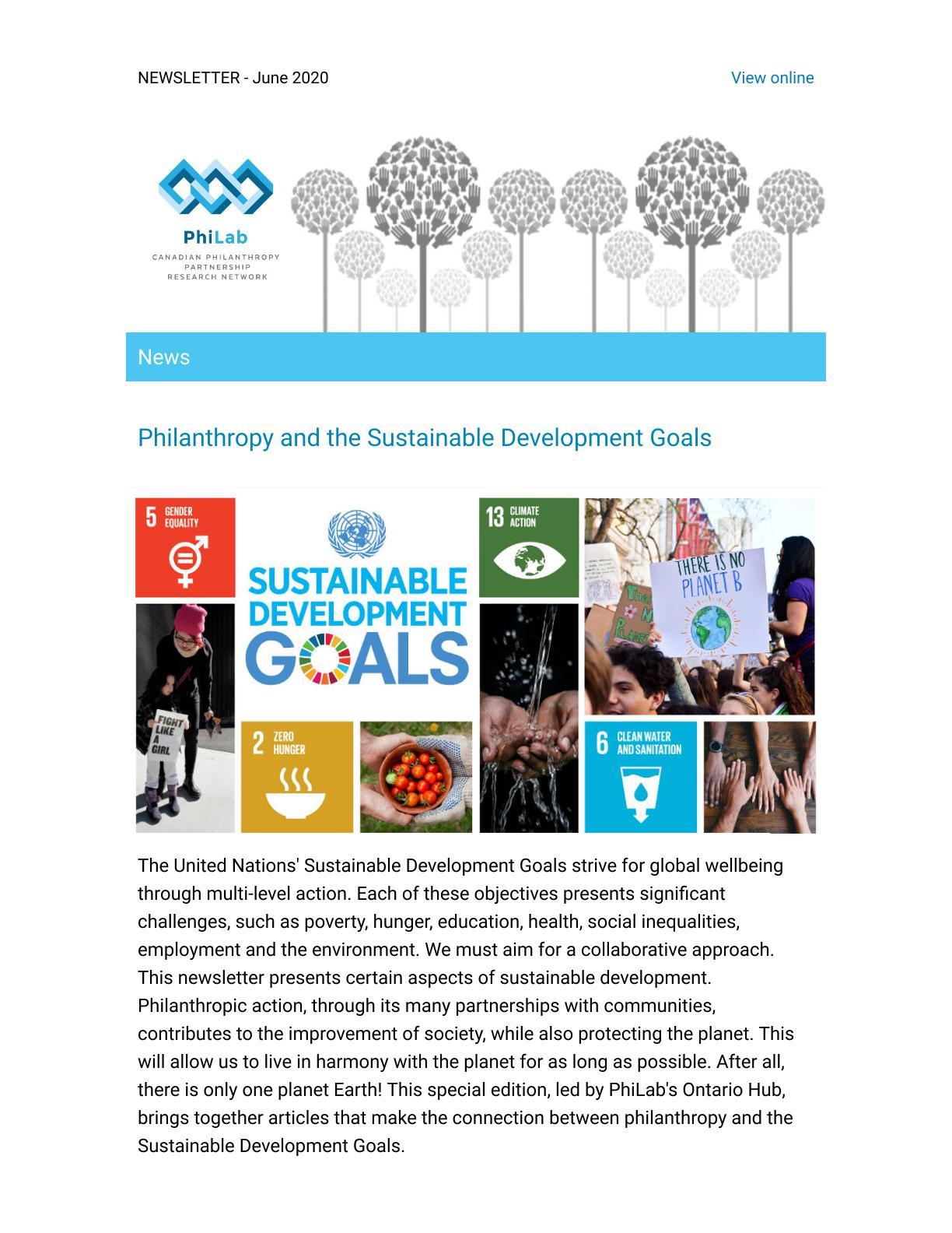 JUIN2020 - Philanthropy and the Sustainable Development Goals