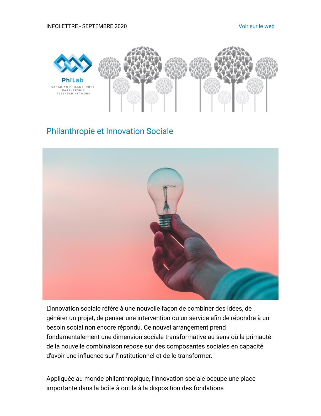 Philanthropie et Innovation Sociale