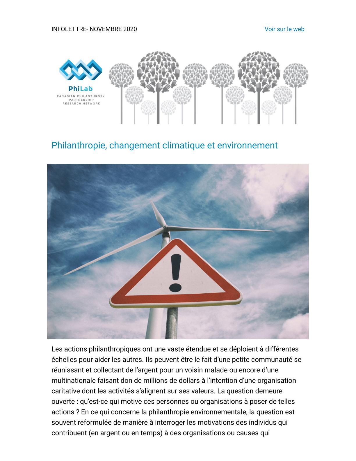 Philanthropie, changement climatique et environnement