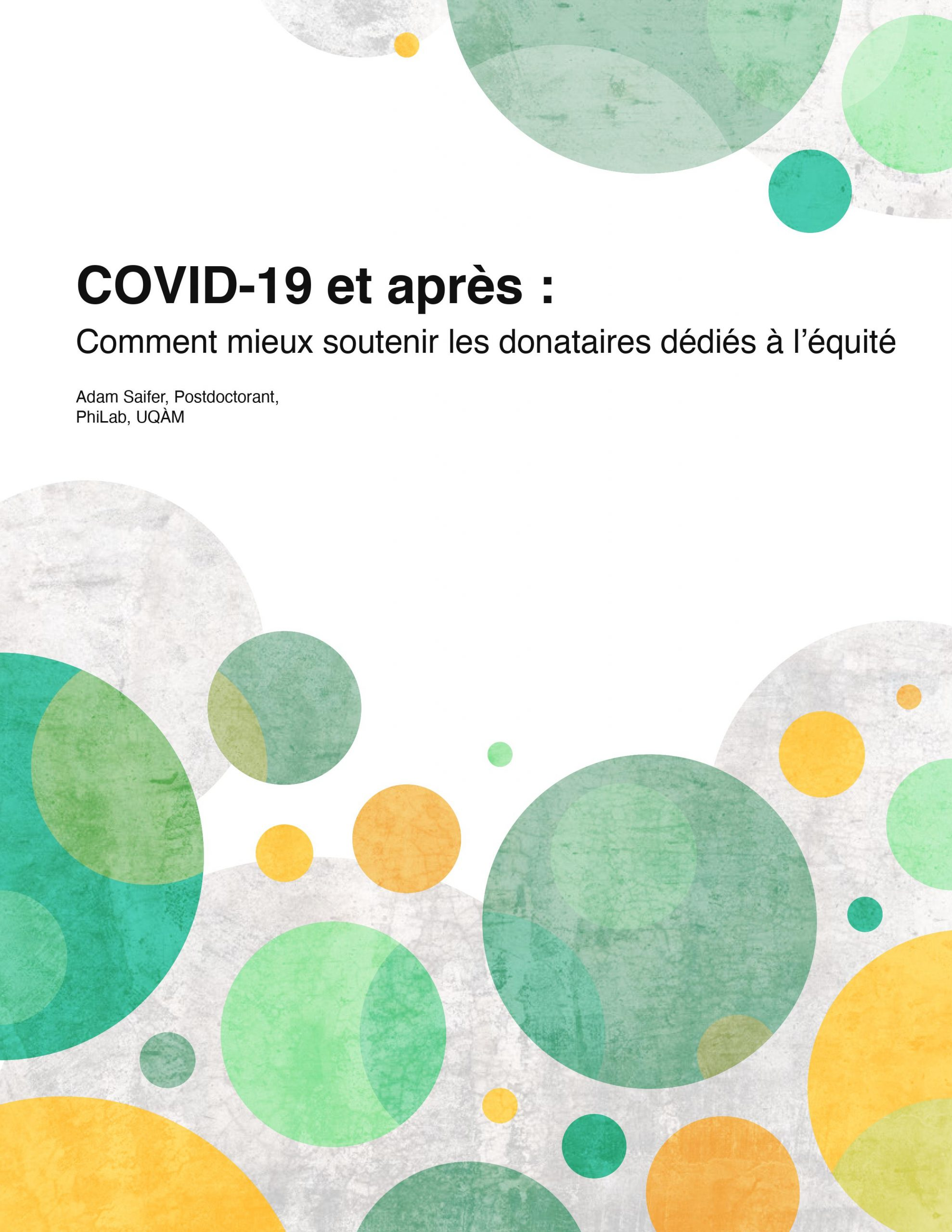 COVID-19 et après -Comment mieux soutenir les donataires dédiés à l'équité