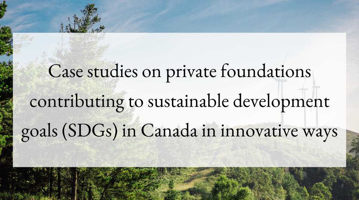 Case studies on private foundations contributing to sustainable development goals (SDGs) in Canada in innovative ways