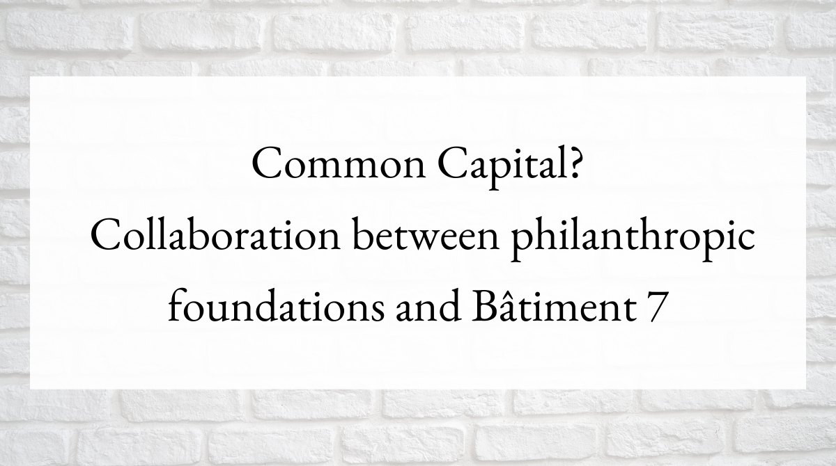 Common Capital? Collaboration between philanthropic foundations and Bâtiment 7
